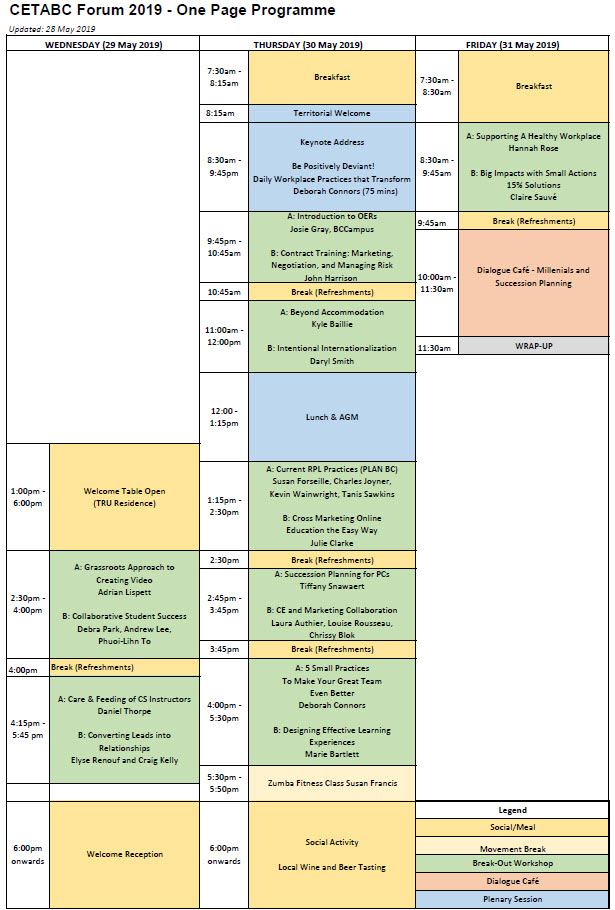CETABC Forum 2019 timetable